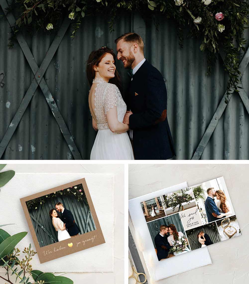 We said yes Karten mit zauberhaften Hochzeitsfotos zum Selbstgestalten.